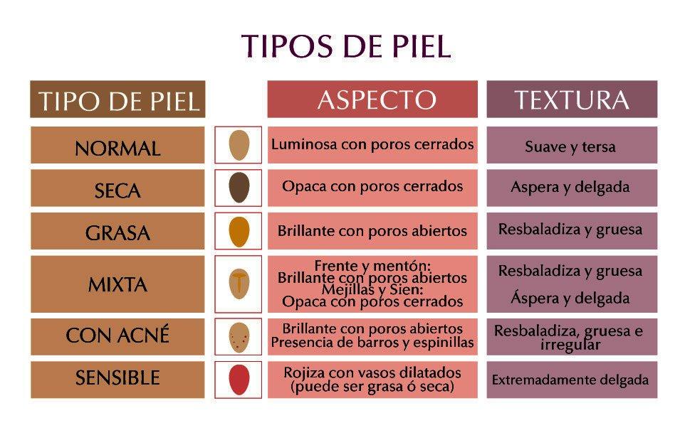 Tipos de piel y cuidados